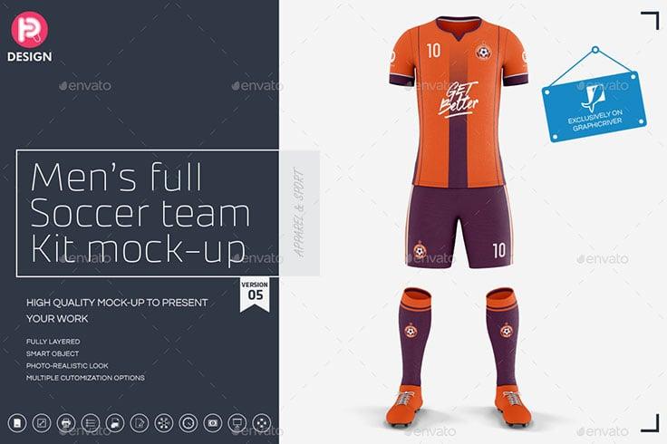Mens Full Soccer Team Kit mockup V5
