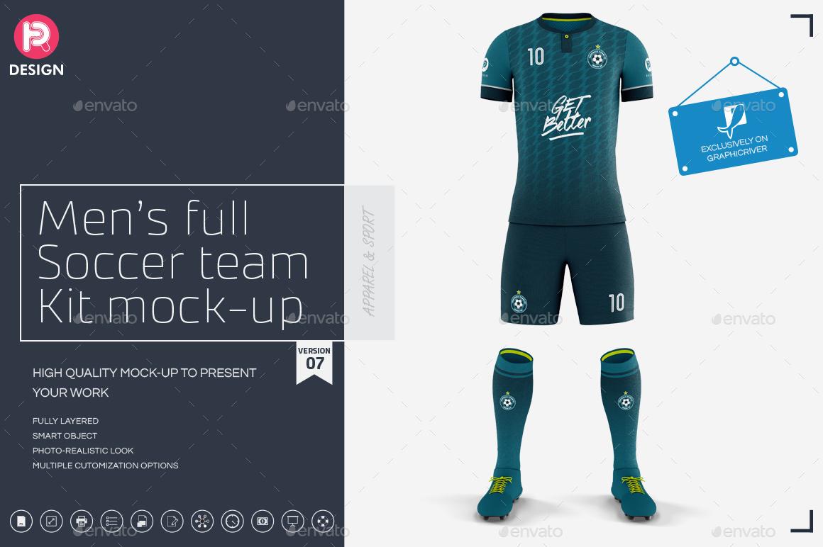 Mens Full Soccer Team Kit mockup V7