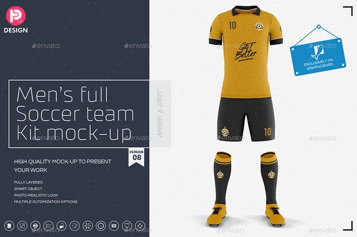 Mens Full Soccer Team Kit mockup V8