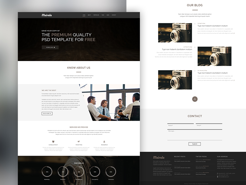 One Page Corporate Agency PSD Template