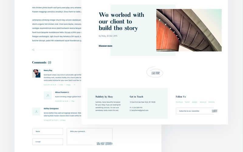 Subtlety – Light & Minimal Blog Free Photoshop PSD Website Templates