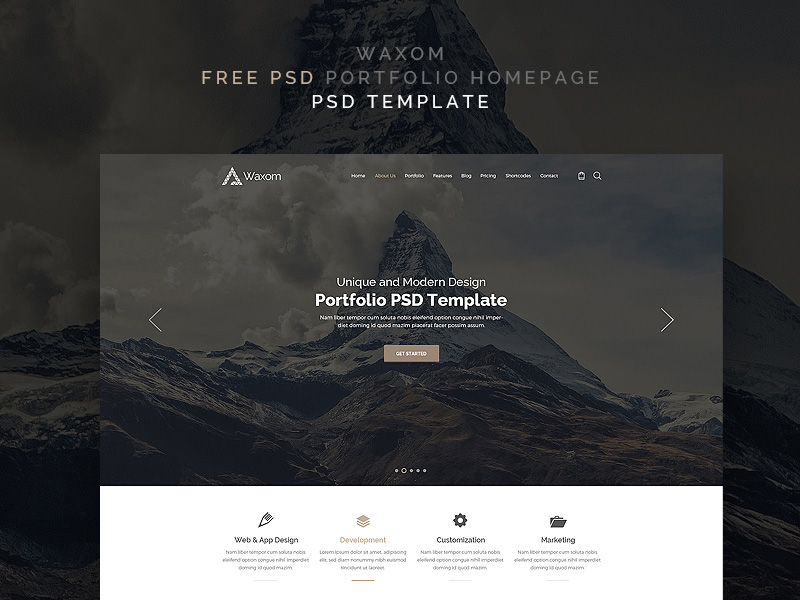 Waxom Free Photoshop PSD Website Templates