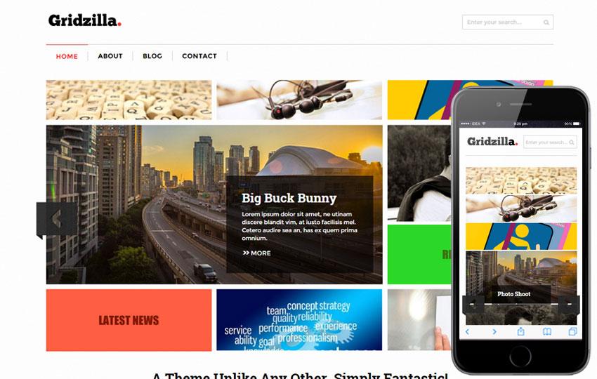 Gridzilla – Magazing Layout Free Photoshop PSD Website Templates