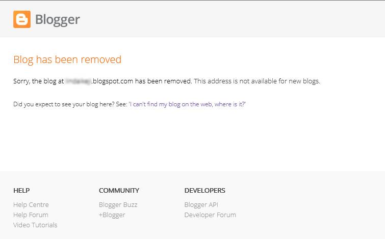 How to start a WordPress blog - Blogger blog has been removed