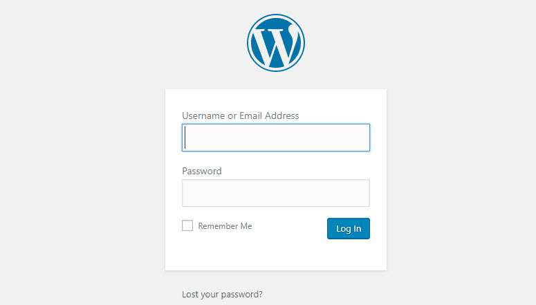 How to start a WordPress blog - WordPress Login Screen