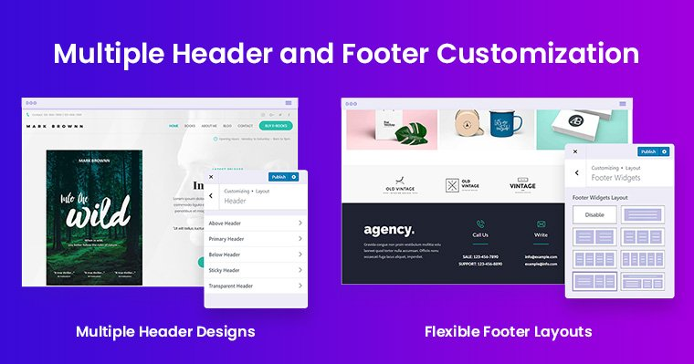 Astra Multiple Header and Flexible Footer Layouts