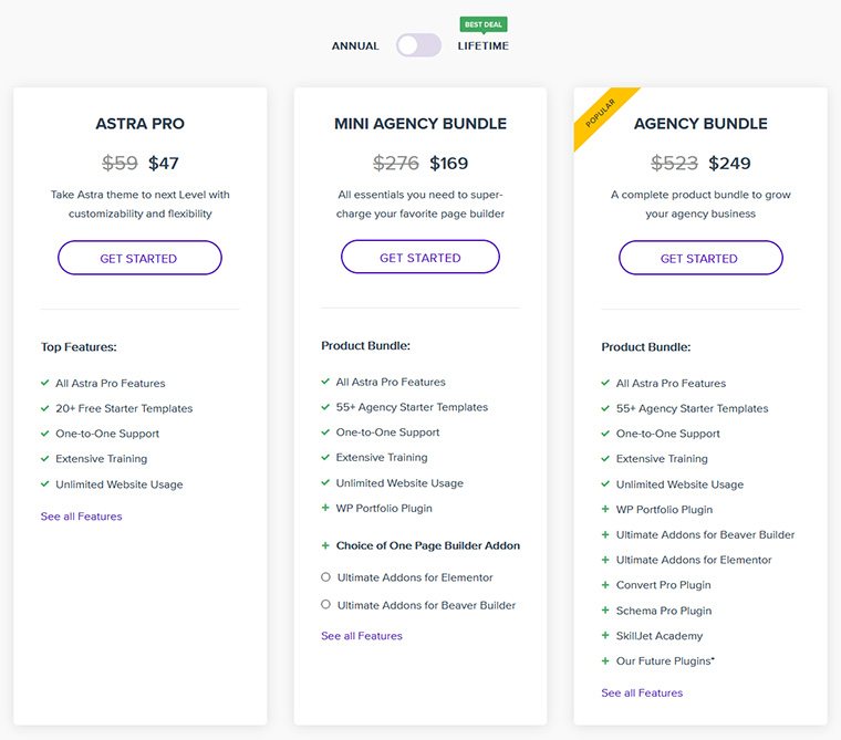 Astra Theme Pricing and Plans