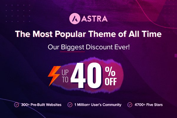 Astra Pro Black Friday Cyber Monday Deal