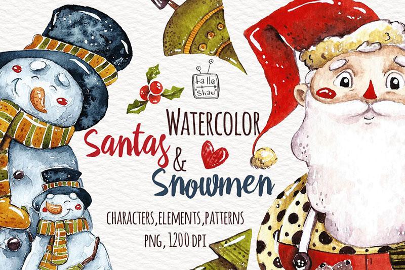 Watercolor Santas and Snowmen