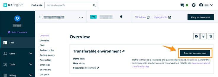 WP Engine Transfer Environment Button